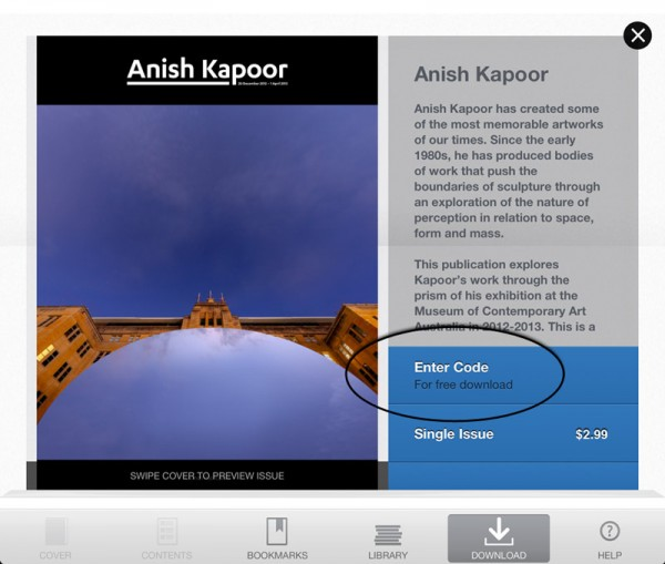 Free code to download Anish Kapoor